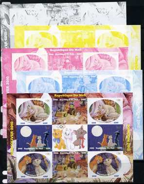 Mali 2010 Aristocats with Olympic Rings, sheetlet containg 4 values x 2 plus  the set of 5 imperf progressive proofs comprising the 4 individual colours plus all 4-colour composite, unmounted mint