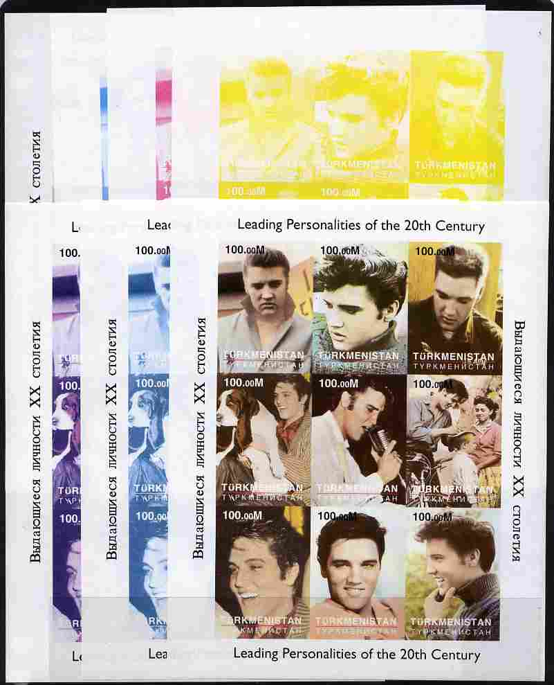 Turkmenistan 1998 Leading Personalities of the 20th Century (Elvis Presley) sheetlet containing complete set of 9 values - the set of 7 imperf progressive proofs comprising the 4 individual colours plus 2, 3 and all 4-colour composites
