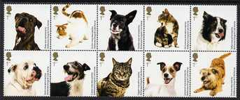 Great Britain 2010 Battersea Dogs & Cats Home se-tenant block of 10 values unmounted mint