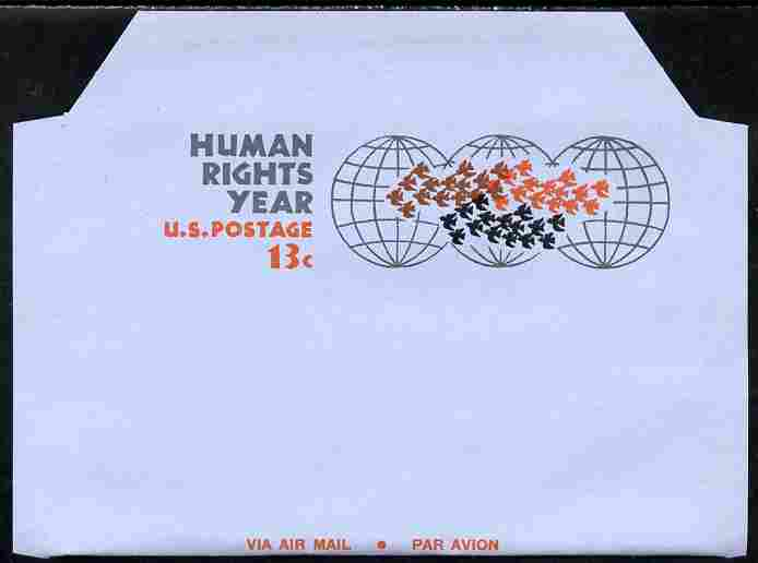 Aerogramme - United States 1968 Human Rights Year 13c air-letter sheet folded along fold lines otherwise unused and fine