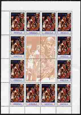 Angola 2000 Sports Legends - Michael Jordan (Basketball) perf sheetlet containing 12 values plus label unmounted mint