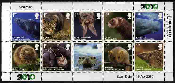 Great Britain 2010 Mammals perf set of 10 unmounted mint