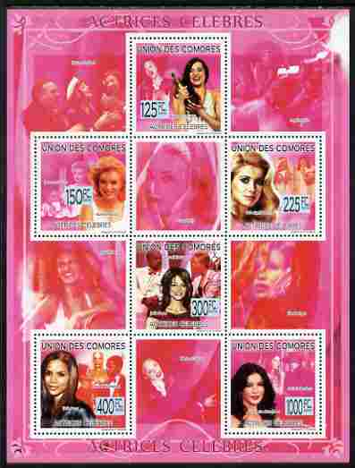 Comoro Islands 2009 Famous Actresses perf sheetlet containing 6 values unmounted mint, Michel 2287-92