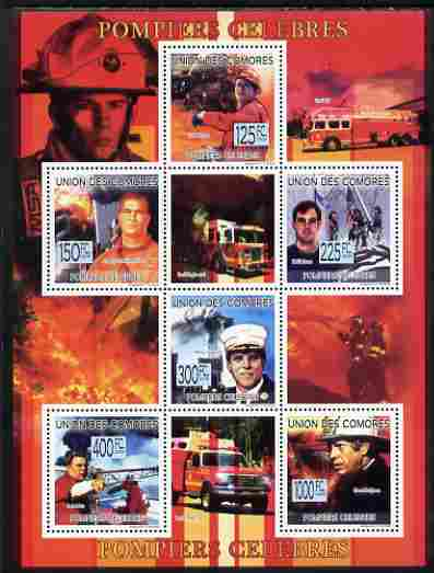 Comoro Islands 2009 Fire Fighters perf sheetlet containing 6 values unmounted mint, Michel 2259-64