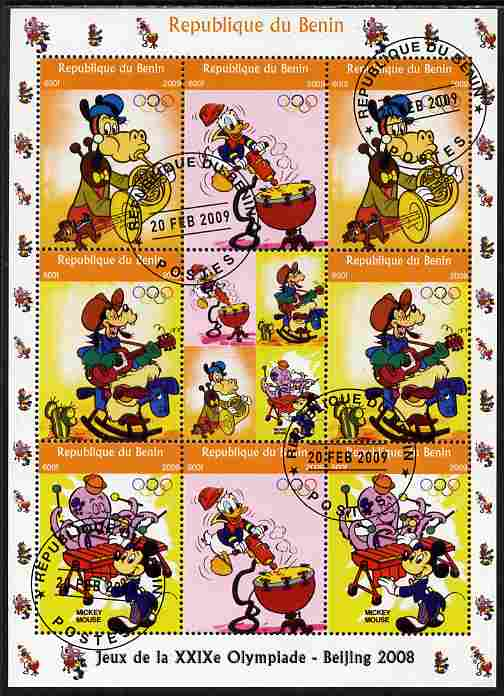 Benin 2009 Beijing Olympics #4 - Disney Characters (Music) perf sheetlet containing 8 values plus label fine cto used