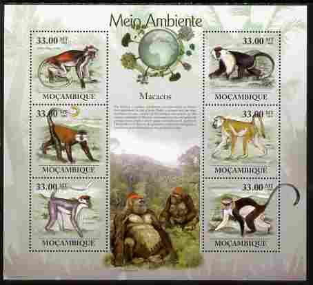 Mozambique 2010 The Environment - Macaques large perf sheetlet containing 6 vaues unmounted mint Michel 3620-25