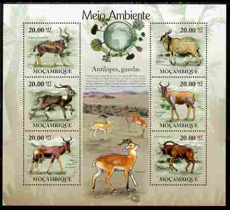 Mozambique 2010 The Environment - Antelopes & Gazelles large perf sheetlet containing 6 vaues unmounted mint Michel 3554-59