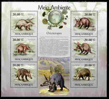 Mozambique 2010 The Environment - Aardvarks large perf sheetlet containing 6 vaues unmounted mint Michel 3578-83