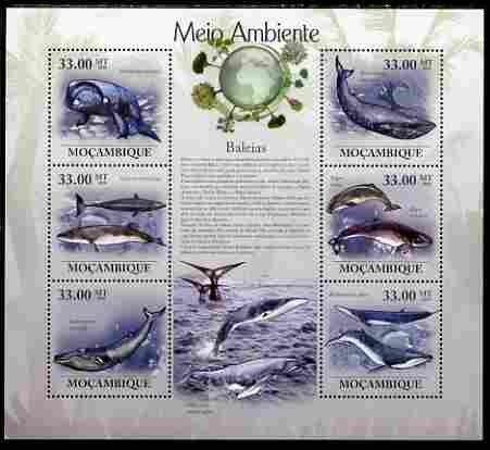 Mozambique 2010 The Environment - Whales large perf sheetlet containing 6 vaues unmounted mint Michel 3614-19