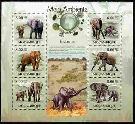 Mozambique 2010 The Environment - Elephants large perf sheetlet containing 6 vaues unmounted mint Michel 3542-47