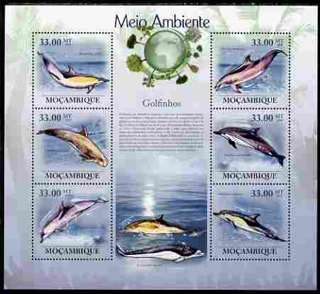 Mozambique 2010 The Environment - Dolphins large perf sheetlet containing 6 vaues unmounted mint Michel 3508-13