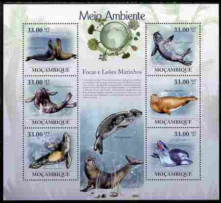 Mozambique 2010 The Environment - Seals & Sea Lions large perf sheetlet containing 6 vaues unmounted mint Michel 3602-07