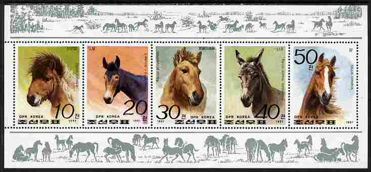 North Korea 1991 Horses perf sheetlet containing set of 5 unmounted mint as SG N3083-87