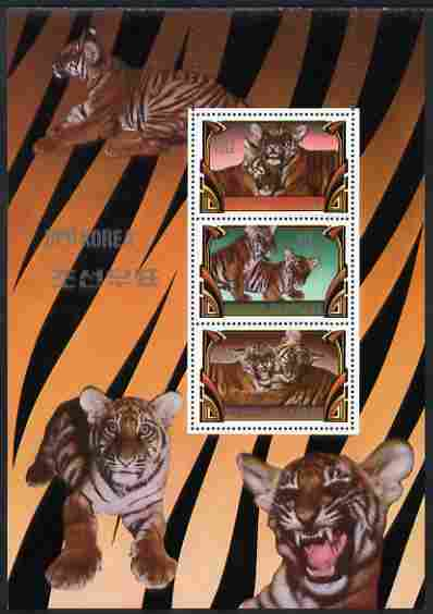 North Korea 1982 Tigers perf sheetlet containing three values (30w, 40w & 80w) unmounted mint as SG N2197-9