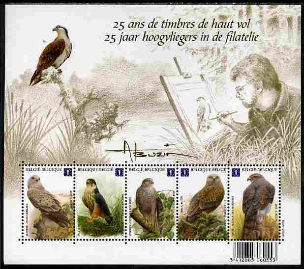 Belgium 2010-14 Birds - 25 Years of Designs by  Andre Buzin perf sheetlet containing 5 x Birds of Prey unmounted mint