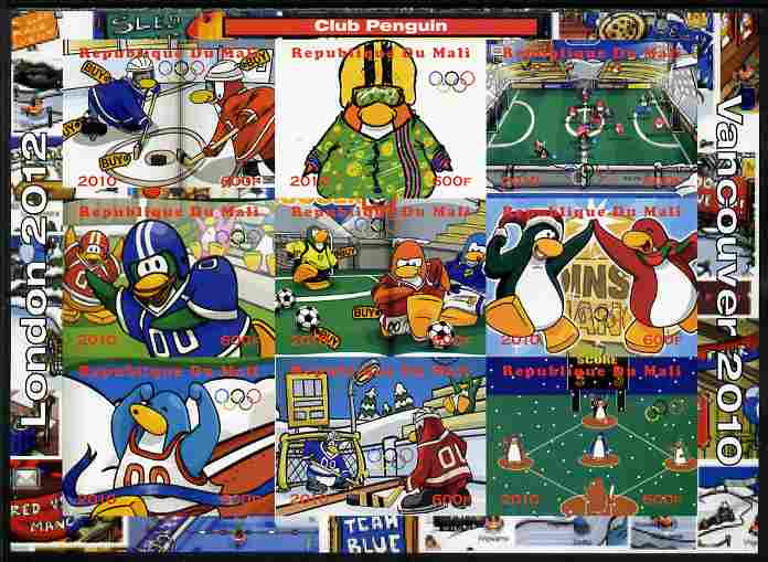 Mali 2010 Olympic Games - Disney Club Penguin #2 imperf sheetlet containing 9 values unmounted mint. Note this item is privately produced and is offered purely on its thematic appeal, it has no postal validity