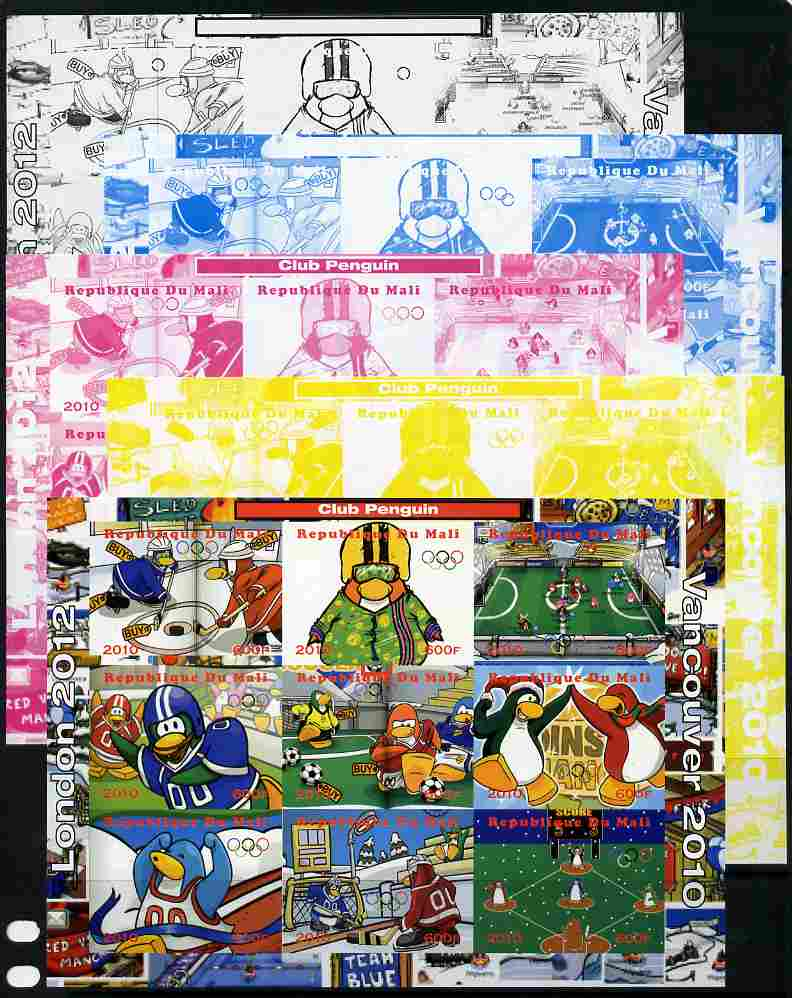 Mali 2010 Olympic Games - Disney Club Penguin #2 sheetlet containing 9 values - the set of 5 imperf progressive proofs comprising the 4 individual colours plus all 4-colour composite unmounted mint