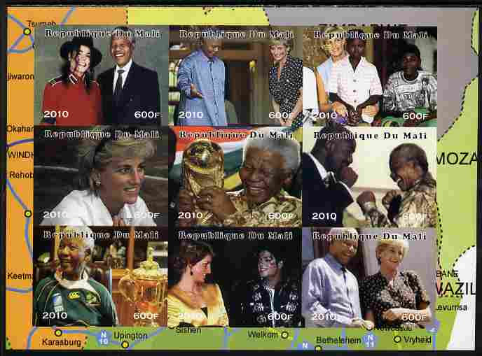 Mali 2010 Princess Diana & Nelson Mandela imperf sheetlet containing 9 values unmounted mint. Note this item is privately produced and is offered purely on its thematic appeal, it has no postal validity