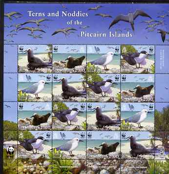 Pitcairn Islands 2007 WWF Endangered Species - Terns & Noddies perf m/sheet containing four sets of 4 unmounted mint SG 724-7