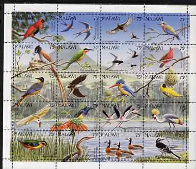 Malawi 1992 Birds perf sheetlet containing set of 20 values unmounted mint SG 876-95