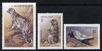 Russia 1987 Mammals found in Red-Book set of 3 unmounted mint, SG 5755-57, Mi 5711-13*