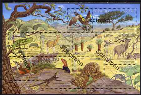 Namibia 2001 Flora & Fauna of the Central Highlands perf composite sheet containing set of 10 values overprinted SPECIMEN, unmounted mint as SG 896-905, stamps on birds, stamps on aninals, stamps on insects, stamps on trees.lizards.reptiles, stamps on aloes, stamps on
