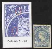 St Helena Forgery 6d blue by David Cohn (West type 2) imperf single from column 3 - identified by extra dot after St and flaw by nose