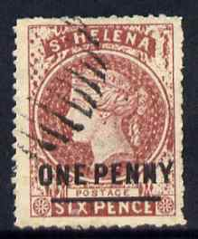 St Helena Forgery 1d on 6d red-brown by Spiro Brothers (West type 1) 'used' single. (Please note: we have a modest stock of this item so the one you receive may not be identical to the one scanned)