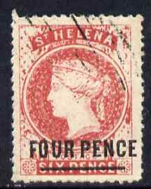St Helena Forgery 4d on 6d red by Spiro Brothers (West type 1) 'used' single. (Please note: we have a modest stock of this item so the one you receive may not be identical to the one scanned)