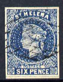 St Helena Forgery 6d blue by ??? (West type 8, identified by additional frame line) 'used' single. (Please note: we have a modest stock of this item so the one you receive may not be identical to the one scanned)