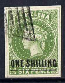 St Helena Forgery 1s on 6d green by ??? (West type 8, identified by additional frame line) 'used' single. (Please note: we have a modest stock of this item so the one you receive may not be identical to the one scanned)