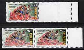 Nigeria 2008 Beijing Olympics N20 (Athletics) proof marginal single from right side of the sheet se-tenant with stamp-sized blank with a very feint printing of the black complete with matched issued pair, both unmounted mint.  A few trial proof sheets only were produced