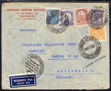 Brazil 1935 Airmail cover to Amsterdam with Zeppelin Condor cachet