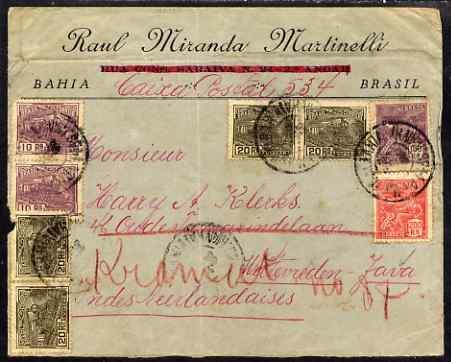 Brazil 1924 cover to Netherlands Indies bearing various adhesives, backstamped Weltevreden