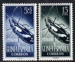 Spanish Guinea 1953 Colonial Stamp Day - Beetle 5c and 15c unmounted mint SG 383 & 385