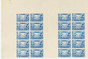 Israel 1948 Interim Period Bialik-Herzl 25m blue complete imperf pane comprising two blocks of 10 with plain gutter between, unmounted mint and rare