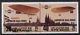 North Korea 1983 Luposta Airmail Exhibition perf se-tenant pair, unmounted mint, SG N2280a