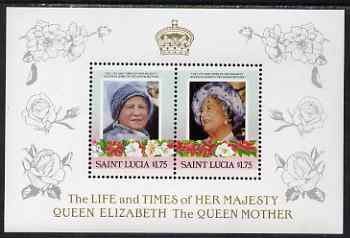 St Lucia 1985 Life & Times of HM Queen Mother (Leaders of the World) the unissued deluxe sheetlet containing 2 x $1.75, unmounted mint, similar to SG 838a