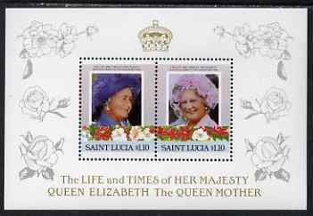 St Lucia 1985 Life & Times of HM Queen Mother (Leaders of the World) the unissued deluxe sheetlet containing 2 x $1.10, unmounted mint, similar to SG 836a