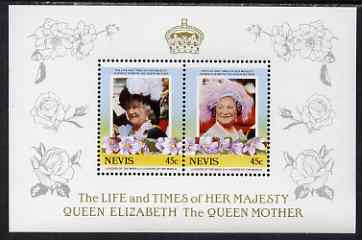 Nevis 1985 Life & Times of HM Queen Mother (Leaders of the World) the unissued deluxe sheetlet containing 2 x 45c, unmounted mint, similar to SG 309a, stamps on royalty, stamps on queen mother
