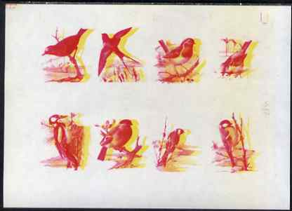 Calf of Man 1973 Birds - imperf proof sheet of 8 in magenta & yellow only, the two colours out of register, on gummed paper, unmounted mint