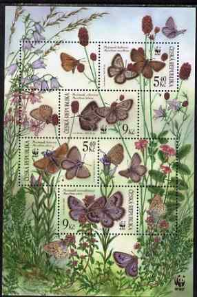 Czech Republic 2002 WWF - Butterflies composite perf sheetlet containing 4 values & 4 labels, unmounted mint, SG MS328