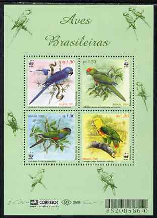Brazil 2001 WWF - Birds perf sheetlet containing 4 values unmounted mint, SG MS 3207