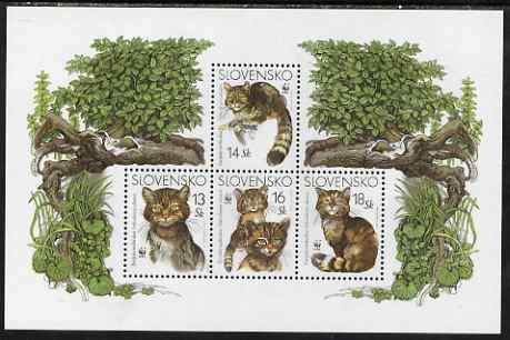 Slovakia 2003 WWF - Wild Cat perf sheetlet containing 4 values unmounted mint, SG MS 416