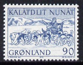 Greenland 1972 Mail Transport 90ore (dog-sledge) unmounted mint SG 80*