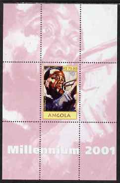Angola 2001 Millennium series - Louis Armstrong perf s/sheet unmounted mint. Note this item is privately produced and is offered purely on its thematic appeal