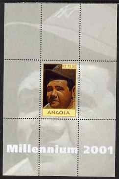 Angola 2001 Millennium series - Babe Ruth perf s/sheet unmounted mint