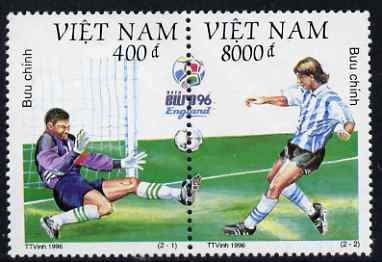 Vietnam 1996 Football European Championships perf se-tenant pair unmounted mint, SG 2055-56