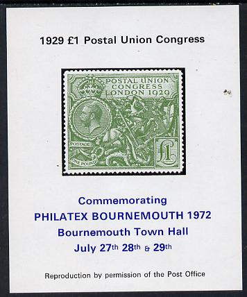 Exhibition souvenir sheet for 1972 Bournemouth Philatex Stamp showing Great Britain PUC �1 value in green with black border unmounted mint