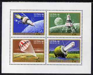 Hungary 1971 Lunar 16 Space Mission perf m/sheet containing set of 4 unmounted mint, SG MS 2571
